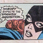 Primer plano de Batgirl con un bocadillo de fondo donde se lee: Nobody expects the Spanish Inquisition...