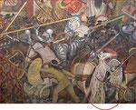 Mural de Diego Rivera en Palacio Nacional (el yaotlakuatzin en el circulo).