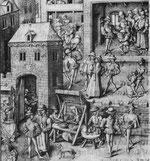 Flämische Straßenszene, Jean le Tavernier, HSS, Dedikationsminiatur, 1460.