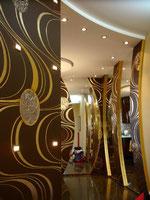 Декоративное оформление коридора и кухни в японском стиле.