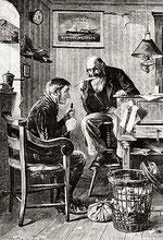 Auswanderungsagent (Holzstich von 1883)