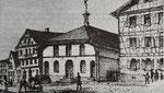 Synagoge in der Goldschmiedstraße ab 1850-1852, Randbild eines Sammelbildes, aus: Manuel Werner: Die Juden in Hechingen als religiöse Gemeinde, ZHG 20/1984, Seite 147, gemeinfrei