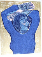 Frau in Blau,  70x100 cm