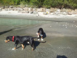 heiß war es! Abkühlung im Fluss tut gut!