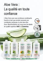 Les quatre gel d'aloe vera de LR et des feuilles de la plante | Les Logo Fresenius et IASC