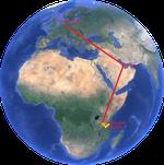 Flugroute - Frankfurt-Doha-Kilimanscharo