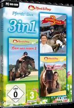 Packshot 3 in 1 Pferde-Box: Riding Star 3 + Lass uns reiten 2 + Mein Gestüt – Ein Leben für die Pferde