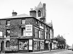 Lozells Road at James Street 1979 - Of these buildings, only the church is still standing today. Reproduced with the kind permission of Keith Berry from his on-line collection of photographs. See Acknowledgements.