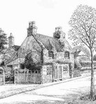 Woodthorpe Road in Kings Heath - drawn in 1938. Grateful thanks and acknowledgements for the use of this image to E W Green, Historic Buildings in Pen & Ink - The Work of William Albert Green. See Acknowledgements.
