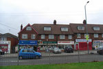 Shops at the east end of Bordesley Green, at the junction with Little Bromwich Road