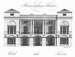 Birmingham Theatre. Image from William Hutton 1783 An History of Birmingham, a work now in the public domain.