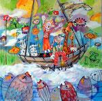 Pimpinella und die Schiff-Schaukel_60x60 cm_2012