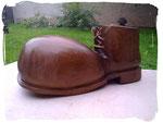 Schuh zum Bepflanzen Schuhgröße ca. 60cm  (Holzart Eiche, lasiert)