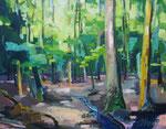 Sommerwald mit Bachlauf, Odenwald 100x130 cm verk/sold