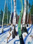 Birken im Winterwald 130x100cm