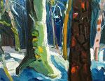 Winterwald grüner Baum 80x100 cm