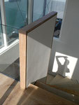 Stufen & Mauerabdeckung aus Parkett gefertigt