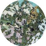 「春の球体」2016年 木にアクリル、インク 円直径30cm