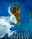 Heilige Kuh vor Blau 110x140cm