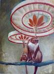 Zwei rote Affen unter Schirmen, 80 x 110 cm