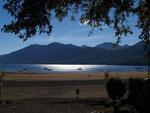 Blick von unserem Stellplatz in Pucon auf den Lago Villarica