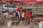 Pelikane warten auf Fischabfälle in Iquique
