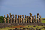 Ahu Tonga Riki, die MOAI wurden bei einem Tsunami alle zerstört und.......