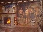 """Pintura mural """"La Fragua de Vulcano"""" en un salón. Interpretación de pintura de Velázquez."""