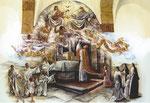 Pintura Mural en los claustros del Monasterio de las MM.Trinitarias de Laredo alegórico al carisma y fundación de la Orden.  Pintura acrílica.