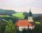 Pfarrkirche St. Michael, Röhrnbach Bayerische Wald. - 30x24cm - Öl auf MDF/Leinen - Verkauft