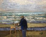 Malerin Katwijk aan Zee  - 30x24cm - Öl auf MDF €150,00