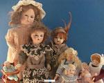 Deutsche Puppen um 1915-v.l. K&R 117 - S&H Miniaturen-Puppenhauskinder um 1890