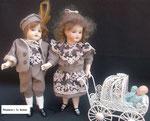 Miniaturen von Simon&Halbig um 1915  Gr. 18 cm - Bye-lo-Baby um 1880 Gr. 5 cm