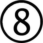 Zahlen im Kreis : Nummer 8 (acht)