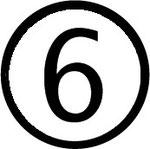 Zahlen im Kreis : Nummer 6 (sechs)