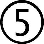Zahlen im Kreis : Nummer 5 (fünf)