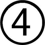 Zahlen im Kreis : Nummer 4 (vier)