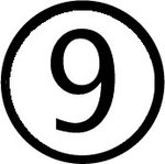 Zahlen im Kreis : Nummer 9 (neun)