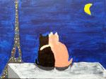 """""""Les deux amoureux"""", Hannah 10 ans (acrylique sur toile)"""