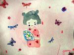 Kokeshi de Junerose, 5 ans et demi (aquarelle)