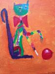 """""""Le chat coquin"""", Jean-Baptiste 7 ans et demi (acrylique sur toile)"""