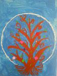 """""""L'arbre à fleurs"""", LucieH., 7 ans et demi (acrylique sur toile)"""