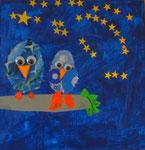 Clément, 6 ans (acrylique et collages sur toile)