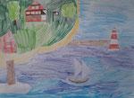 Dessin aux crayons de couleurs, Clément 8,5 ans