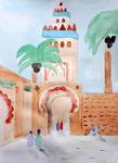 """""""La Koutoubia"""" (Marrakech), aquarelle de Axelle, 10 ans et demi"""