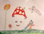 Dessin aux crayons de couleurs, Nina, 7,5 ans