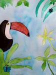 Toucan, aquarelle de Flora, 9 ans et demi