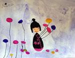 Kokeshi, aquarelle de Nina, 6 ans