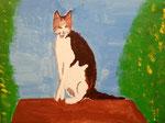 """""""La chatte tranquille"""", Solène 10 ans (acrylique sur toile)"""