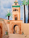 La Koutoubia, (Marrakech), aquarelle de Laure, 13 ans